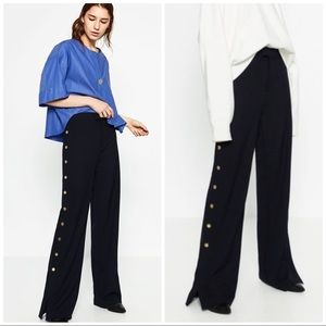 Zara Navy Blue Trousers With Golden Buttons